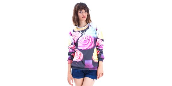 Dámský barevný svetr s růžemi Mr. GUGU & Ms. GO