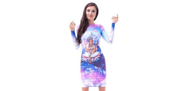 Dámské upnuté šaty s dlouhým rukávem a potiskem Mr. GUGU & Ms. GO