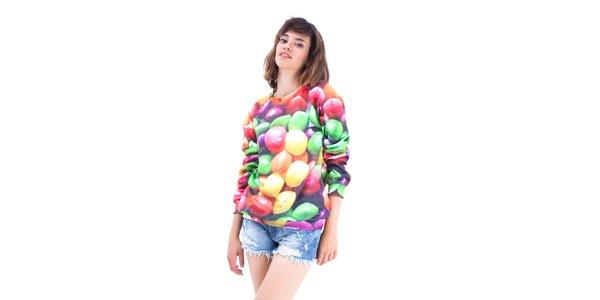 Dámský barevný svetřík s potiskem bonbónů. Mr. GUGU & Ms. GO