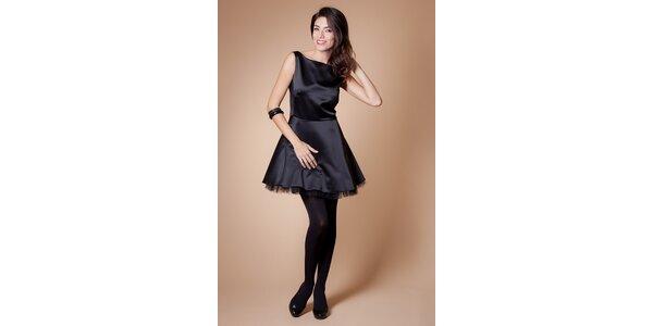 Dámské černé koktejlové šaty Poete s tylovou spodničkou