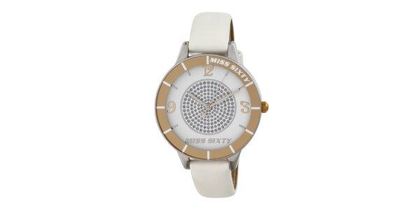 Dámské analogové hodinky s bílým páskem Miss Sixty