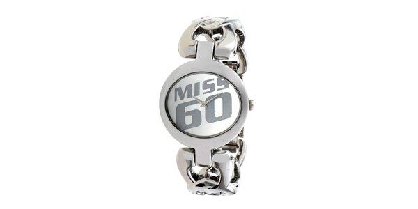 Dámské ocelové hodinky ve stříbrné bavě Miss Sixty