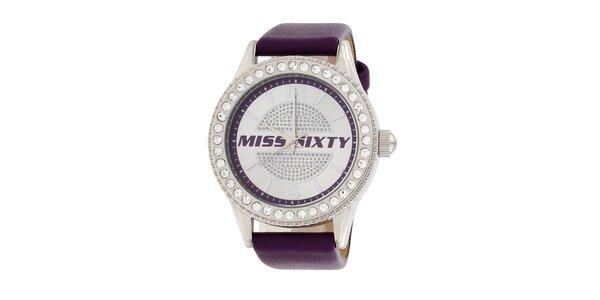 Dámské fialové analogové hodinky Miss Sixty s kamínky