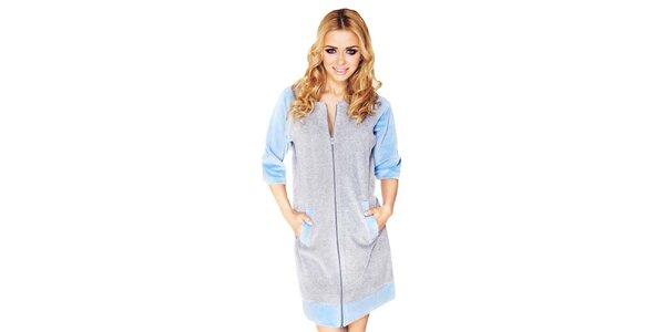 Dámské šedé domácí šaty s modrými prvky Wanmar