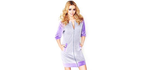 Dámské šedé domácí šaty s fialovými prvky Wanmar