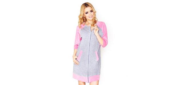 Dámské šedé domácí šaty s růžovými prvky Wanmar