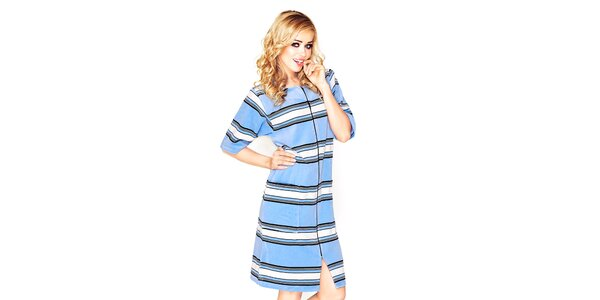 Dámské modré domácí šaty s černobílými proužky Wanmar
