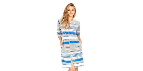 Dámské domácí šaty s modrými proužky Wanmar