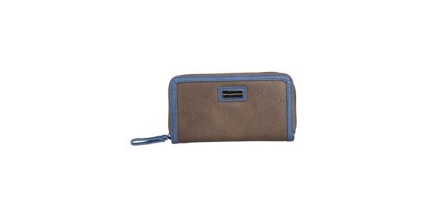 Dámská hnědá podlouhlá peněženka s modrým lemem Benetton