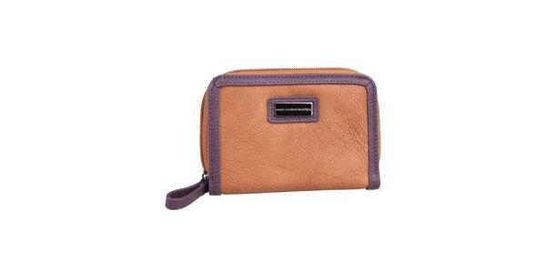 Dámská karamelová peněženka s fialovým lemem Benetton