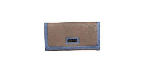 Dámská hnědá peněženka s lemem Benetton na patentku