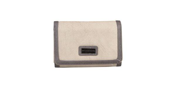 Dámská krémová peněženka s tmavým lemem Benetton