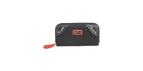 Dámská černá peněženka s oranžovými detaily Benetton