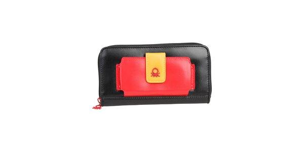 Dámská černá peněženka s barevnými detaily Benetton