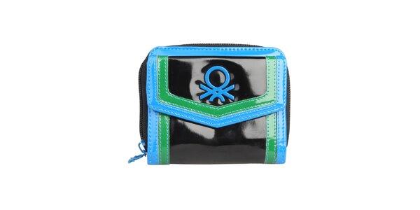 Dámská černá peněženka s modrozelenými lemy Benetton