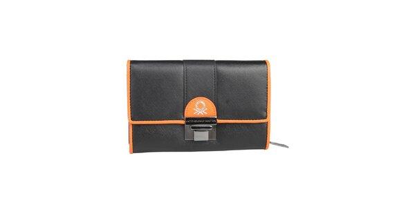 Dámská černá peněženka s oranžovými prvky Benetton