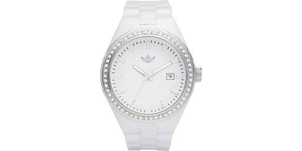 Dámské bílé analogové hodinky s kamínky Adidas
