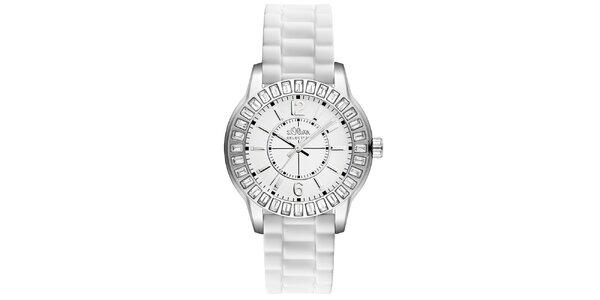 Dámské hodinky s kamínky a bílým řemínkem s.Oliver