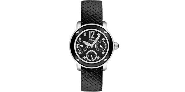 Dámské černé hodinky s multifunkčním ciferníkem s.Oliver