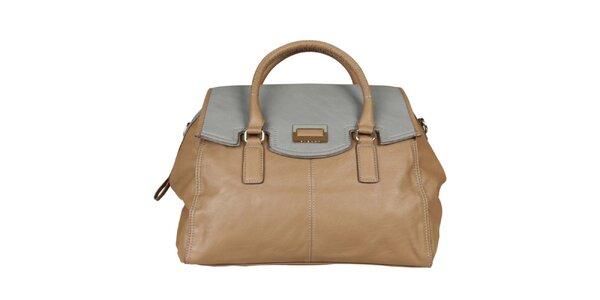 Dámská béžová kabelka Sisley s modrošedým vrškem