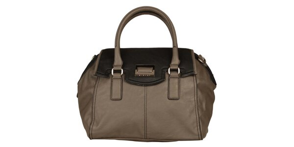 Dámská šedobéžová kabelka Sisley s černým vrškem
