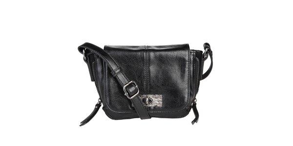 Dámská černá kabelka s klopou Sisley