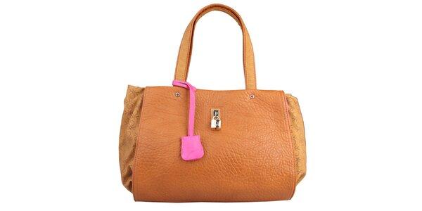 Dámská karamelová kabelka s růžovou visačkou Benetton