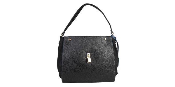 Dámská černá kabelka s modrou visačkou Benetton