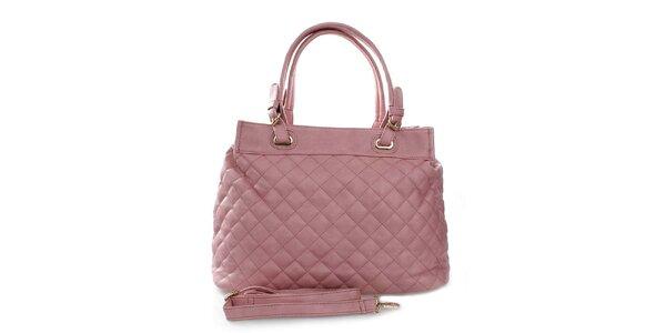 Dámská růžová prošívaná kabelka London Fashion