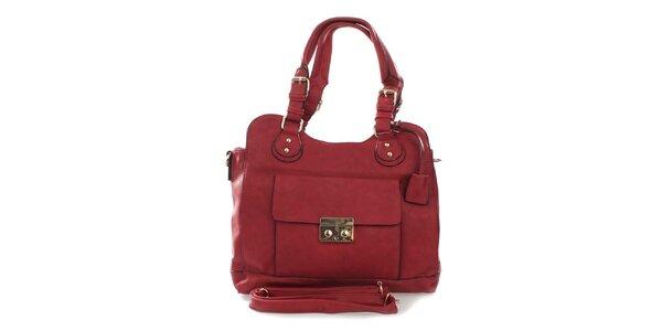 Dámská červená kabelka s odnímatelným popruhem London Fashion
