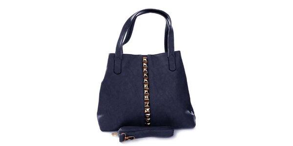 Dámská modrá kabelka se zlatými pyramidkami London Fashion