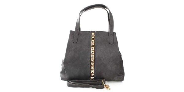 Dámská šedá kabelka se zlatými pyramidkami London Fashion