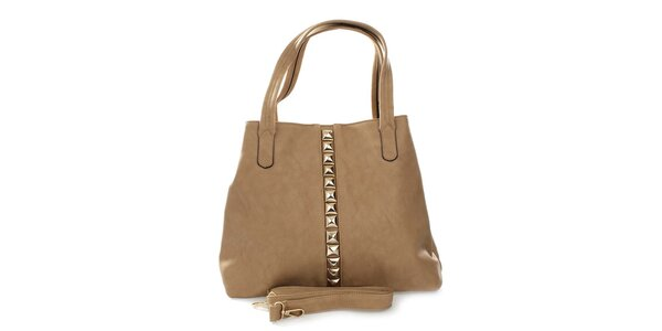 Dámská khaki kabelka se zlatými pyramidkami London Fashion