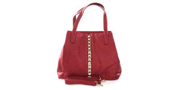 Dámská červená kabelka se zlatými pyramidkami London Fashion