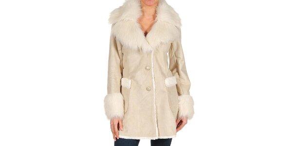 Dámský béžový kabátek s kožešinou Guess