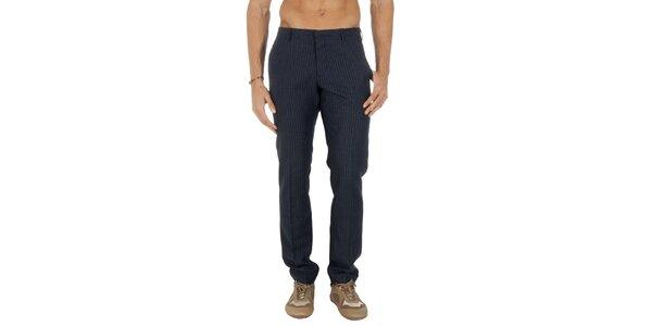 Pánské pruhované tmavomodré kalhoty Tommy Hilfiger