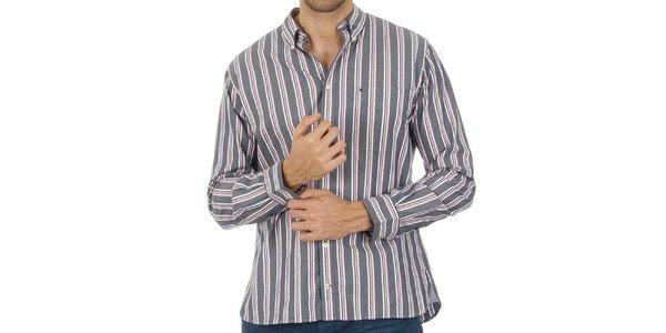 Pánská pruhovaná šedá košile Tommy Hilfiger