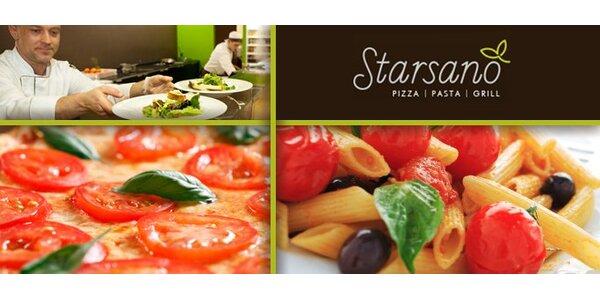 159 Kč za 2 pizzy nebo báječné těstoviny a 2 nápoje v restaurantu Starsano.
