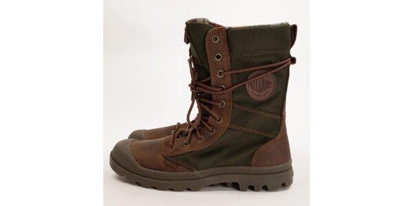 Pánské vysoké hnědo-zelené boty Palladium