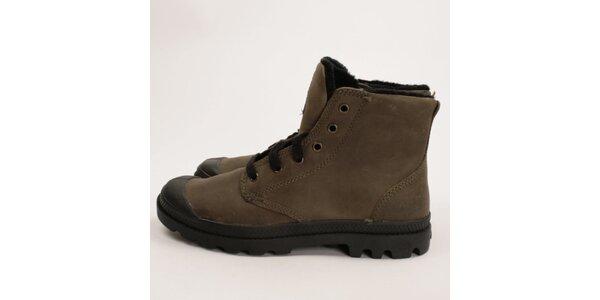 Pánské hnědé kožené boty s kožíškem Palladium