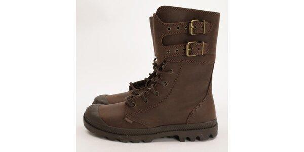 Dámské tmavě hnědé bytelné boty Palladium