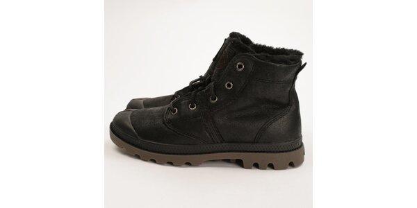 Dámské černé kožené boty s kožíškem Palladium