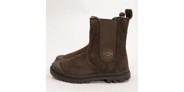 Dámské tmavě hnědé chelsea boty Palladium