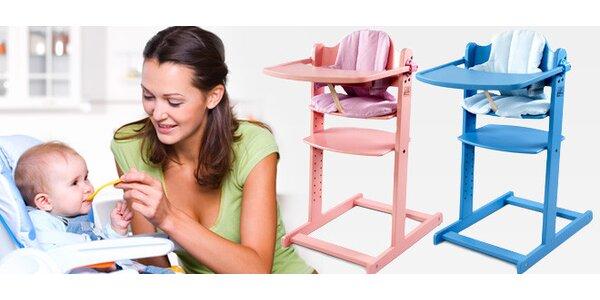 Dětská jídelní židlička s pultíkem a polstrováním