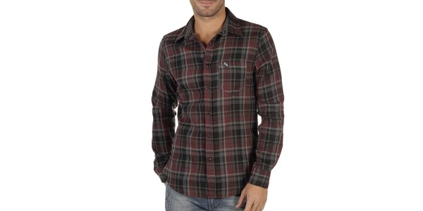 Pánská červeno-černě kostkovaná košile Replay