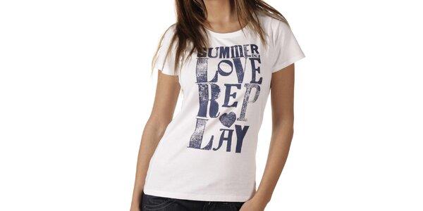 Dámské bílé tričko s modrým potiskem Replay