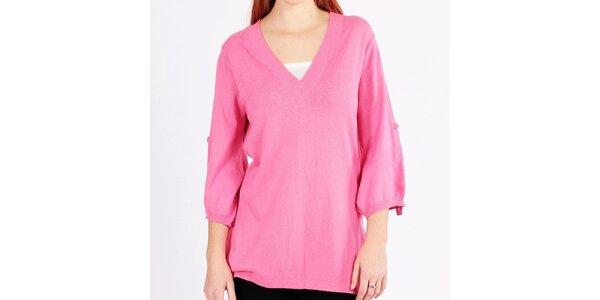 Dámský dlouhý volný růžový svetr Emma Pernelle