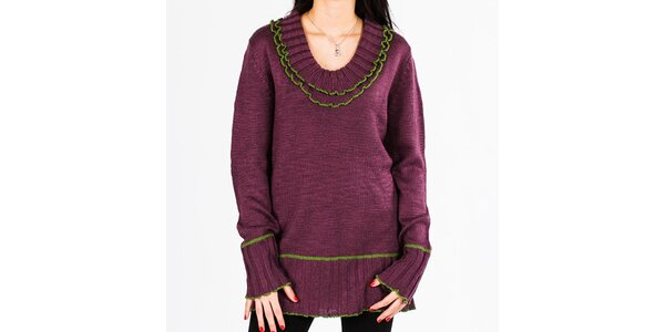 Dámský fialový svetr s volánky v dekoltu Emma Pernelle
