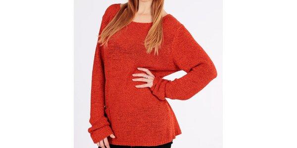 Dámský oranžový volný svetr s kapsičkou Emma Pernelle