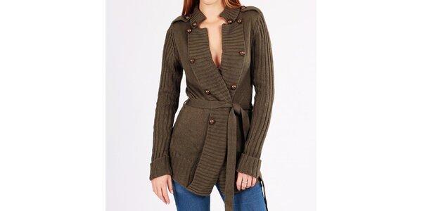 Dámský khaki svetr s knoflíky Gémo